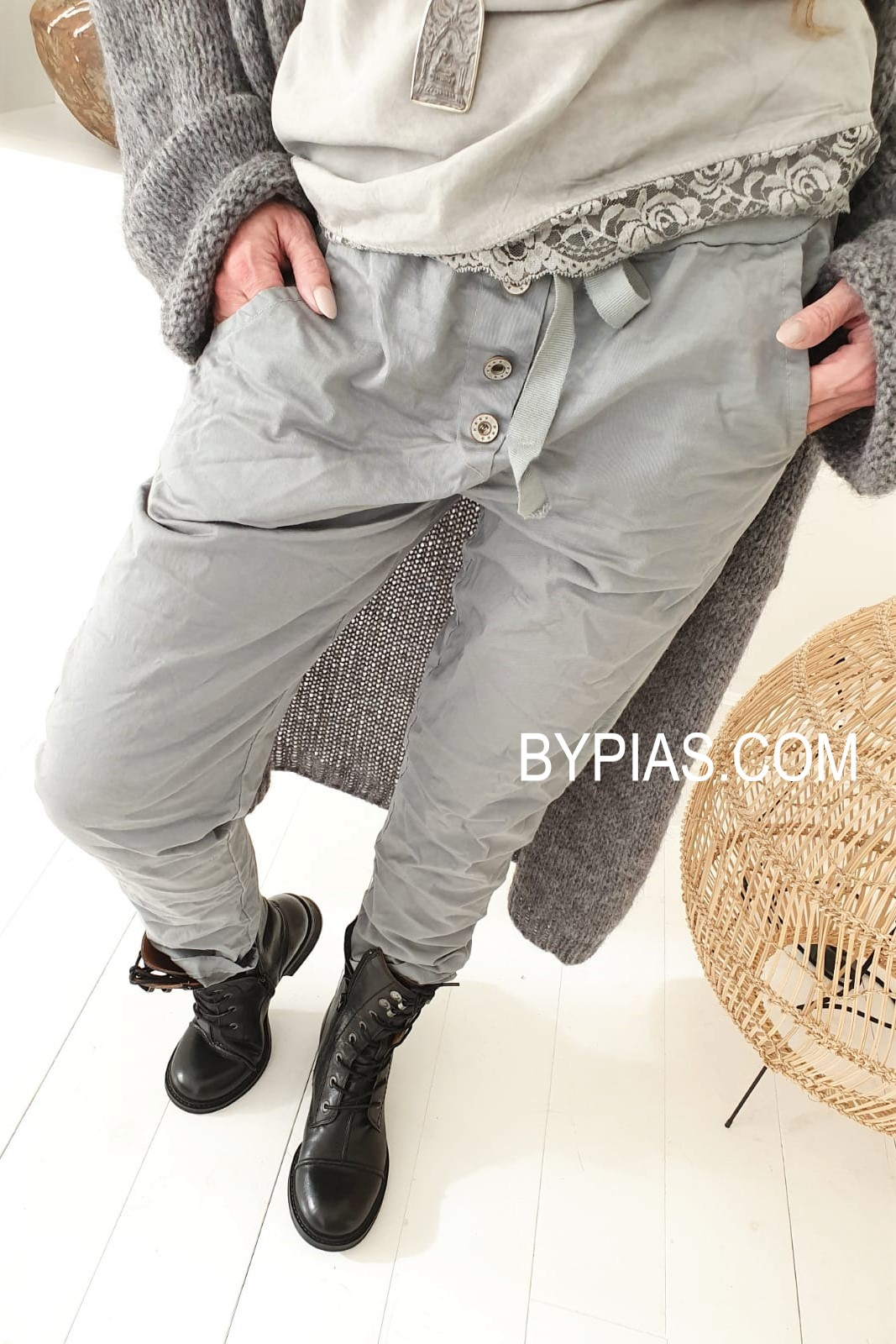 Bypias Perfect Jogger Buttons light grey