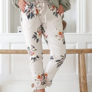 Perfect Jogger Buttons happy flowers beige