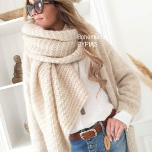 Chunky Knit Mohair Scarf beige