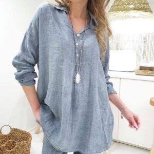 Linen Bluse Smokey blue