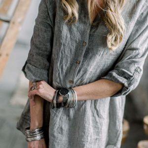 Shine Linen Shirt grey