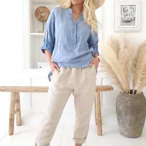 Amor Linen Shirt light denim