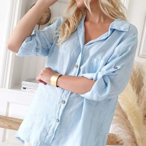 Chill out Linen Shirt sky blue
