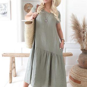 Bypias Jennie Linen Dress Olive
