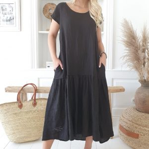 Bypias Jennie Linen Dress Black