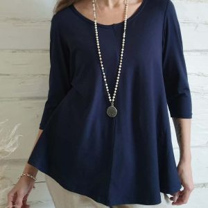 Bamboo Stella Shirt Navy Blue