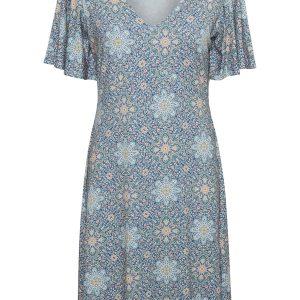 Cream Kleid blaues Muster