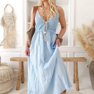 Bypias Love me Linen Dress sky blue
