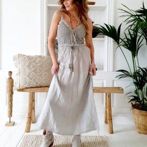 Bypias Love me Linen Dress dove grey