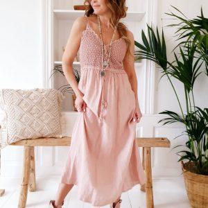 Bypias Love me Linen Dress rose
